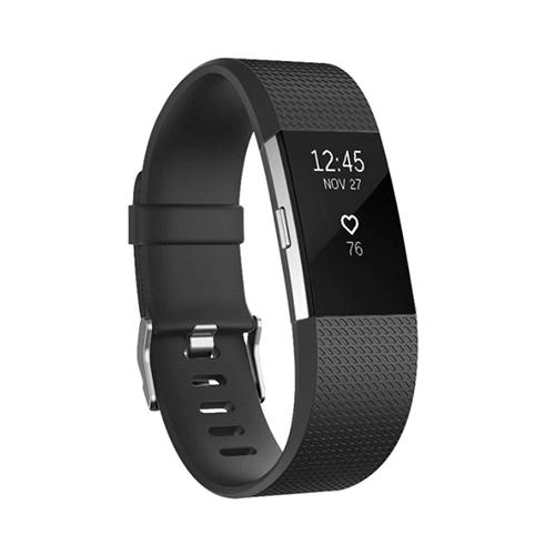 Band Fitbit Charge 2 (L) - Zwart - Siliconen - Gesp